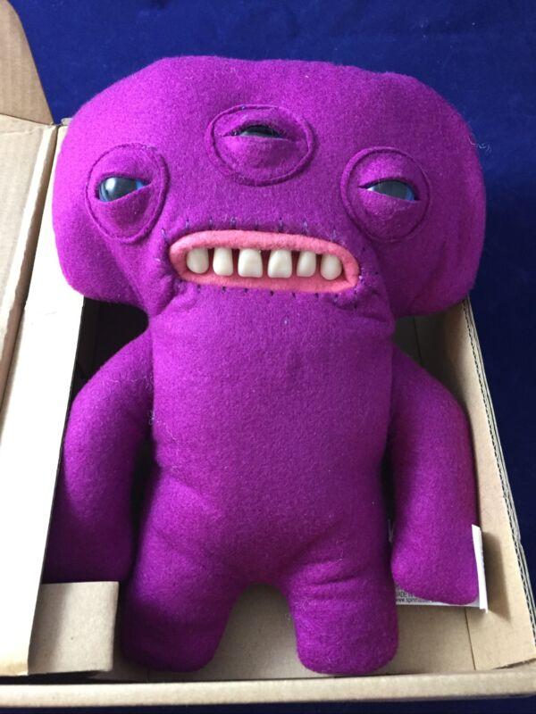 """RARE NEW IN BOX! Fuggler ANNOYED ALIEN Purple 3 Eyes Funny Ugly Monster 9"""" Plush"""