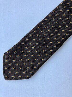 1950s Men's Ties, Bow Ties – Vintage, Skinny, Knit Vintage 1950s Wool Tie Brown Yellow Foulard 50s 60s Geometric $7.00 AT vintagedancer.com