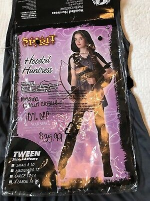 Spirit Halloween Hooded Huntress Childs XL 14-16 Tunic Shoulderstrap belt cuffs](Hooded Huntress Child Costume)
