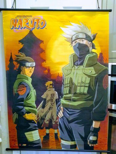 Naruto Kakashi Iruka Anime Characters On Wall Scroll Hanging Poster 2002 Edition