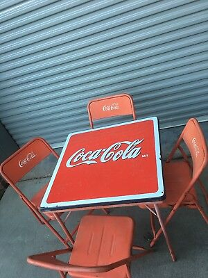 Coca Cola, Vintage Metal Folding Table & 4 chairs Embossed Lettering Coke (Coca Cola Folding Table)