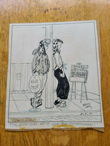 Emmy Lou Original Cartoon Artwork Mary Links 3-5-1951 Teenagers Bobby Sox