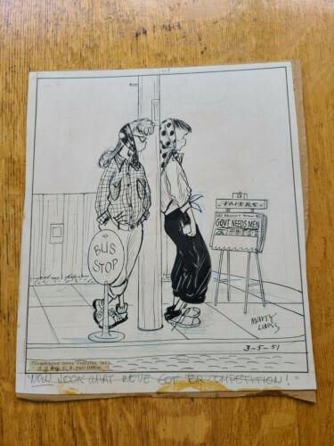 Emmy Lou Original Cartoon Artwork Mary Links 3-5-1951 Teenagers Bobby Sox