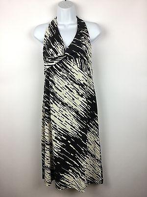 BCBG MAX AZRIA Black Ivory Halter Dress Stretch Matte Jersey Knit Knot Center L