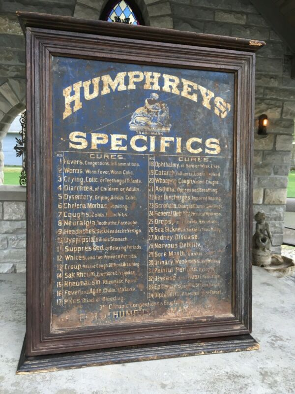 ANTIQUE ORIGINAL HUMPHREYS SPECIFICS GENERAL STORE MEDICAL CABINET PRIMITIVE