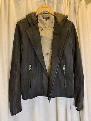 diesel black gold leather jacket women's motorcycle hooded size Large