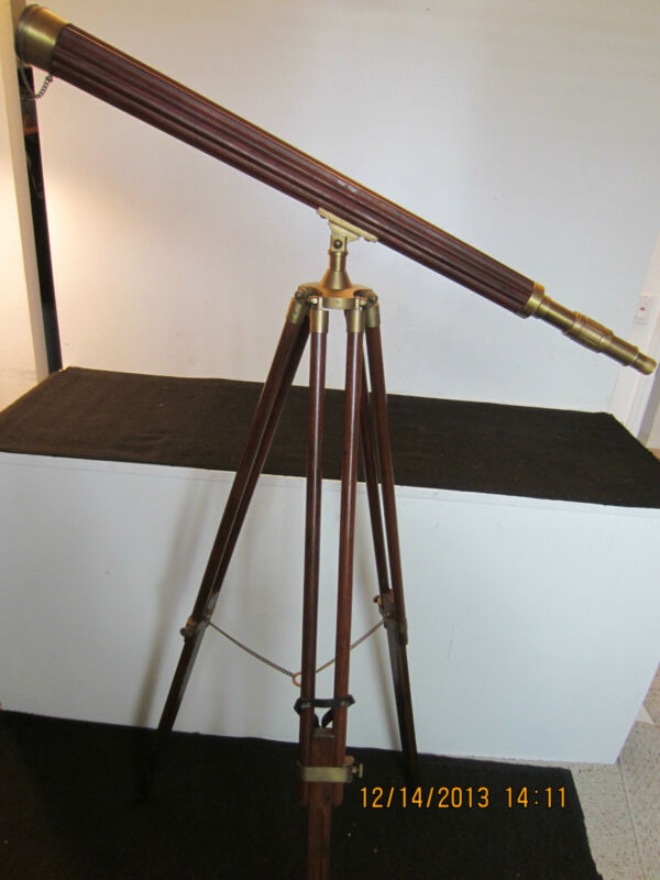 NAUTICAL, WOOD & BRASS REPLICA SHIP TELESCOPE