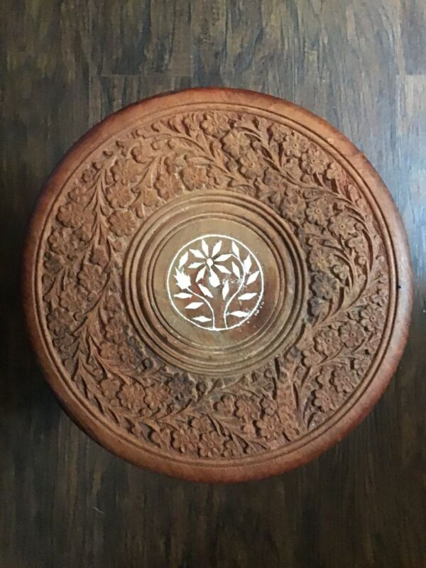 Teak Antique Hand Carved 3 Legged Stool With Ivory Inlaid Design
