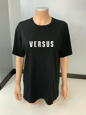 Versus Versace Black Short Sleeve T Shirt Top Size M Uk 10-12 Gc