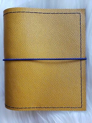 Mustard Yellow Leather Planner Pocket Agenda 30mm Ring Organizer Chunky A7 Blue