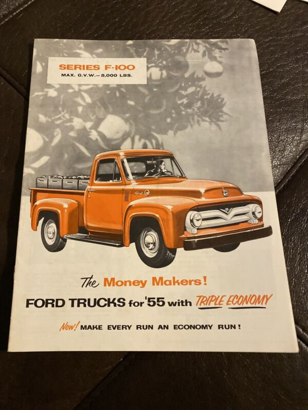Ford Trucks 1955 Series F-100 Sales Brochure Vintage Truck Semi Pickup