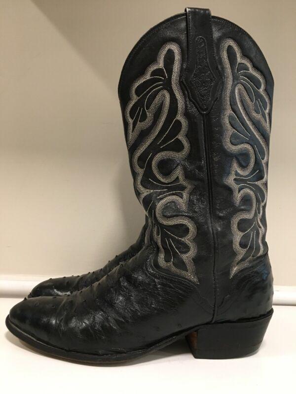 El, Dorado, Handmade, Black, Full, Quill, Ostrich, Cowboy, Western, Boots, Men's, 11, EE