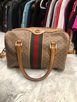 gucci vintage doctor bag medium brown, green and red great condition used