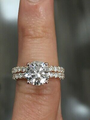 2.50 Ct Natural Round Brilliant Cut Diamond Engagement Ring GIA F, VS1 Platinum 2