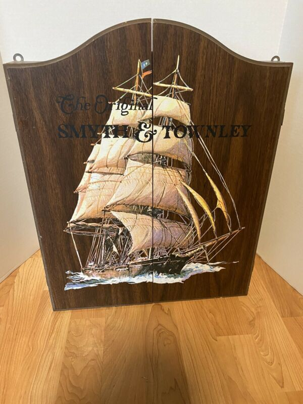Vintage SMYTH & TOWNLEY Ship Dart Board & Cabinet GREAT SHAPE