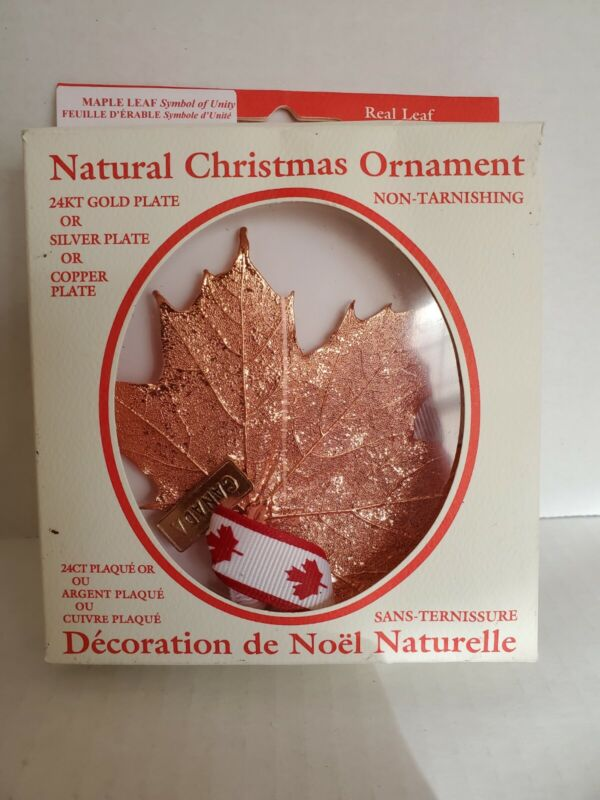Real Maple Leaf, Natural Christmas Ornament, 24kt Gold/Silver/Copper Plate