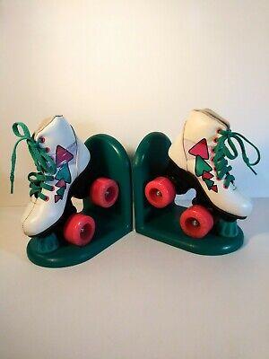Vintage 80s Retro Neon Roller Skates  Bookends