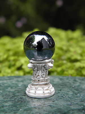 Miniature Dollhouse FAIRY GARDEN Accessories ~ TINY Pedestal with Gazing Ball , used for sale  Sherman Oaks