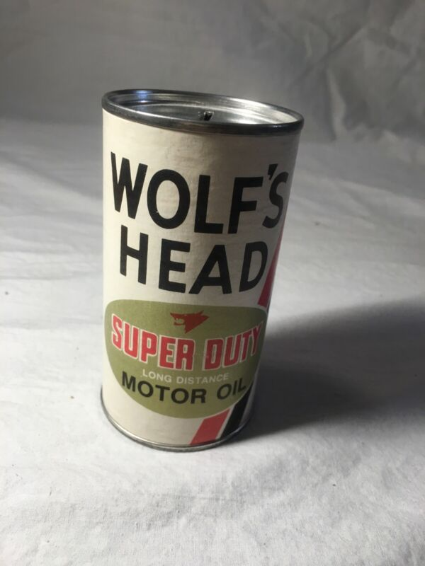 Vintage tin oil can bank miniature 3 7/8 inches tall Wolf