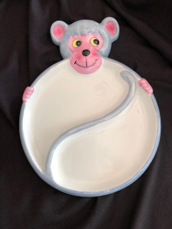 ~Vintage Monkey (VA026) Childs DIVIDED PLATE BOWL BABY DISH~ Studio Nova~ Japan~