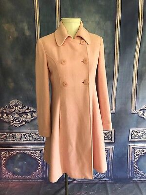 Pink Dress Coat - Via Rose Pink Plush Wool Double Breasted Dress Coat SZ 10 Pockets BEAUTIFUL