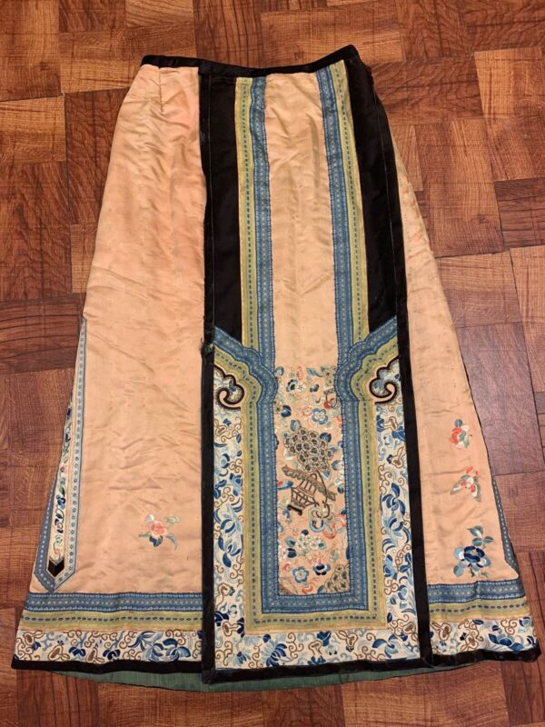 Gorgeous Antique Floral Chinese Qing Dynasty Silk Skirt With Forbidden Stitching