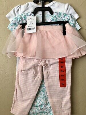 Carter's Baby Girl 3 Piece Bird And Floral Bodysuit And Tutu Set - Size: 9 Mos  Chick Infant Bodysuit