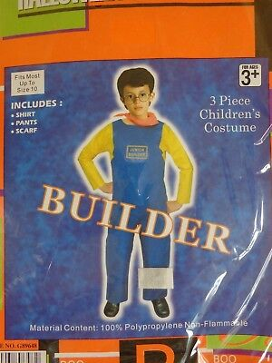 Junior Builder 3 Pc Halloween Costume Shirt Pants Scarf Fits Most Up To Size 10](Costume Builder)