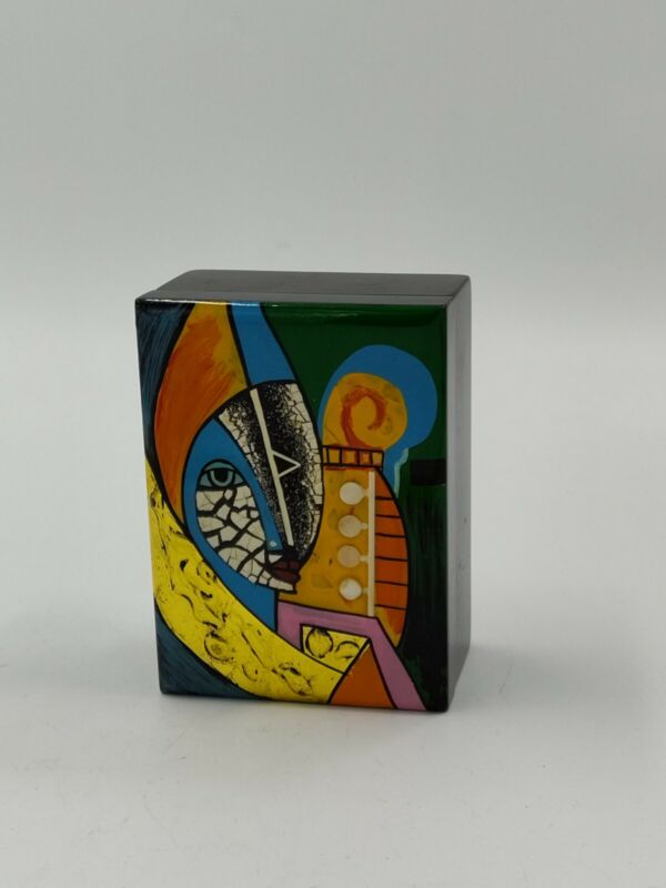 Small Black Lacquer Jewelry Box with Mirror Abstract Art Painted Design