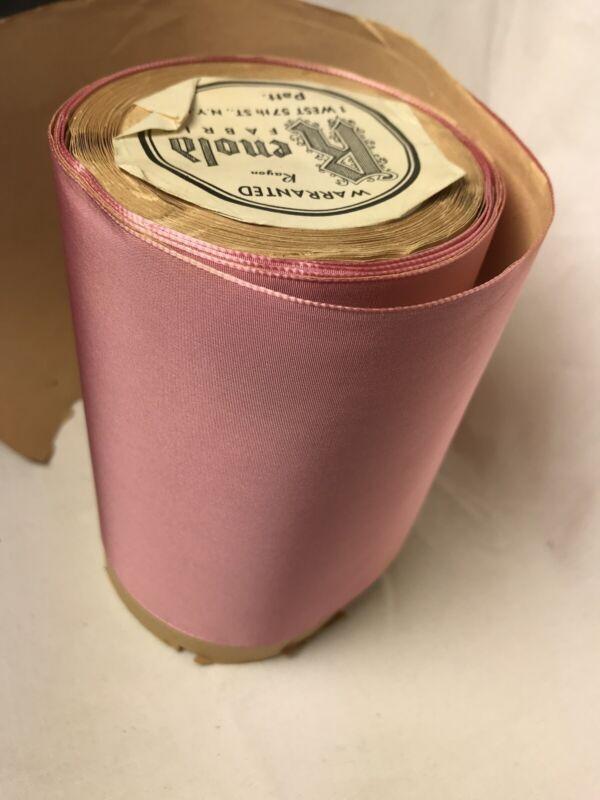"9+ yard 5"" wide roll Pink vintage taffeta rayon ribbon dress bow Switzerland"