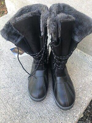 """KHOMBU Boots Women's """"Bryce"""" Size USA 11m Leather Black Winter 655536"""