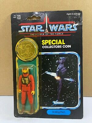 Star Wars Vintage 1985 Kenner POTF B-Wing Pilot 92 Back with Coin MOC