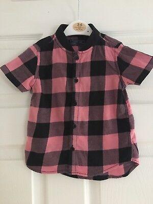 Boys Next Shirt Pink And Black Check 12-18 Months
