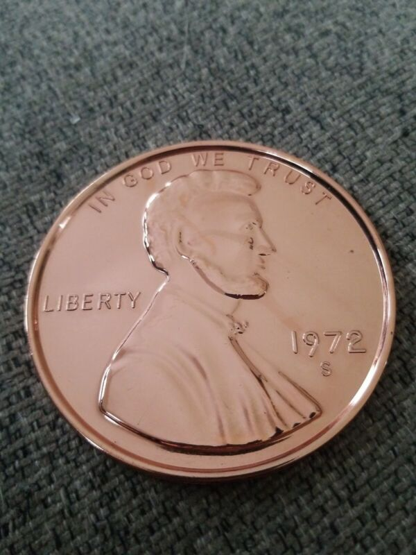 Large 3 Inch Novelty Medal/Coin/Coaster/Paperweight 1972 S LINCOLN CENT PENNY