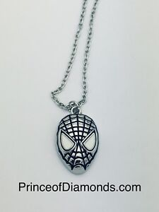 Silver coloured Spider-Man necklace pendant charm