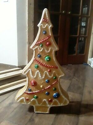 """Vintage Gingerbread Christmas Tree Blow Mold Yard Light 29"""" Don Featherstone EUC"""