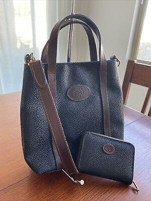 Mulberry England Black Mini Scotchgrain Leather Crossbody & Wallet