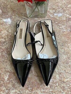 New Zara Basic Black Pointed Toe Slingback Flats Sz 42 EUR / US 11