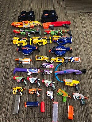 Huge Nerf Lot Of 26 Guns Vulcan End-25 Rifles Blasters Fast Free Shipping