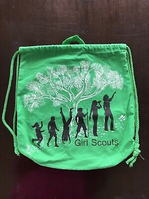 Girl Scouts Canvas Drawstring Back Pack Cinch Sack Tote Bag Green -