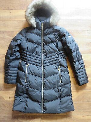 Michael Kors Long Black Down Jacket (M) Coat Fur trim Hood NEW Lined 3/4 Length