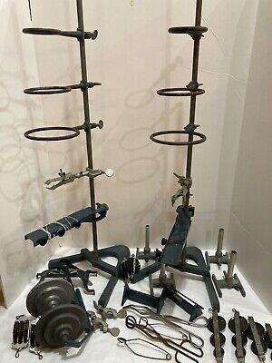 Vintage Lot Of Cenco Lab Equipment Bunsen Burners Retort Stands Rings Clamps Etc