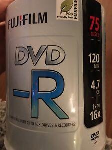 63 unused DVD-R 4.7GB CDS By Fijifilm