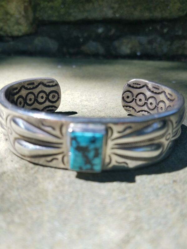 Vintage sterling, turquoise and coral men