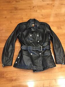 Ladies Motorcycle Leather Harley Jacket. Size XS