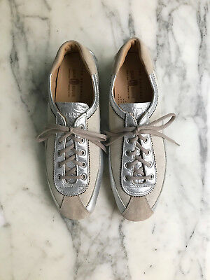 *NEW PRADA x CAR SHOE Leather Canvas Taupe Silver Tan Driving Shoe 40 10