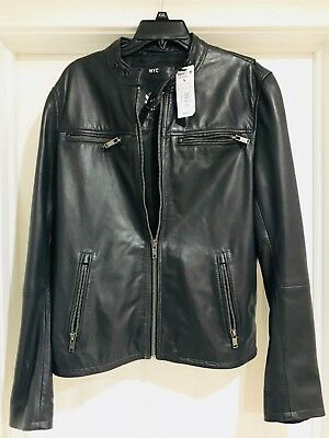 Superdry Leather Jacket Men's Classic Real Hero Biker- GREY-  SIZE (XL) NEW