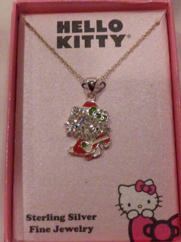 Hello Kitty Sterling Silver Swarovski Paved Crystal Santa Necklace NIB $150 SALE