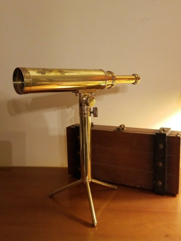 Tasco 30 X 40 2B Brass Telescope with wood box.