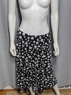 Ashley Blue Womens Size XL Stretchy A-Line Midi Black White Polka Dot Skirt
